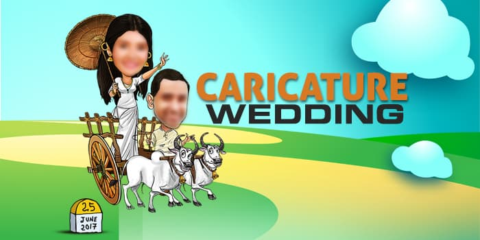 Caricature Wedding Photoshop Templates